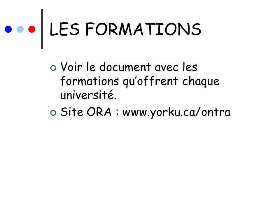 LES FORMATIONS Voir le document avec les formations qu'offrent chaque université.