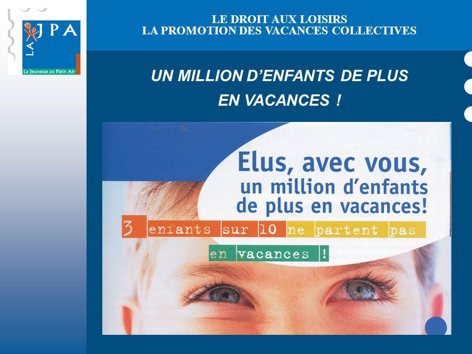 LA PROMOTION DES VACANCES COLLECTIVES UN MILLION D'ENFANTS DE PLUS