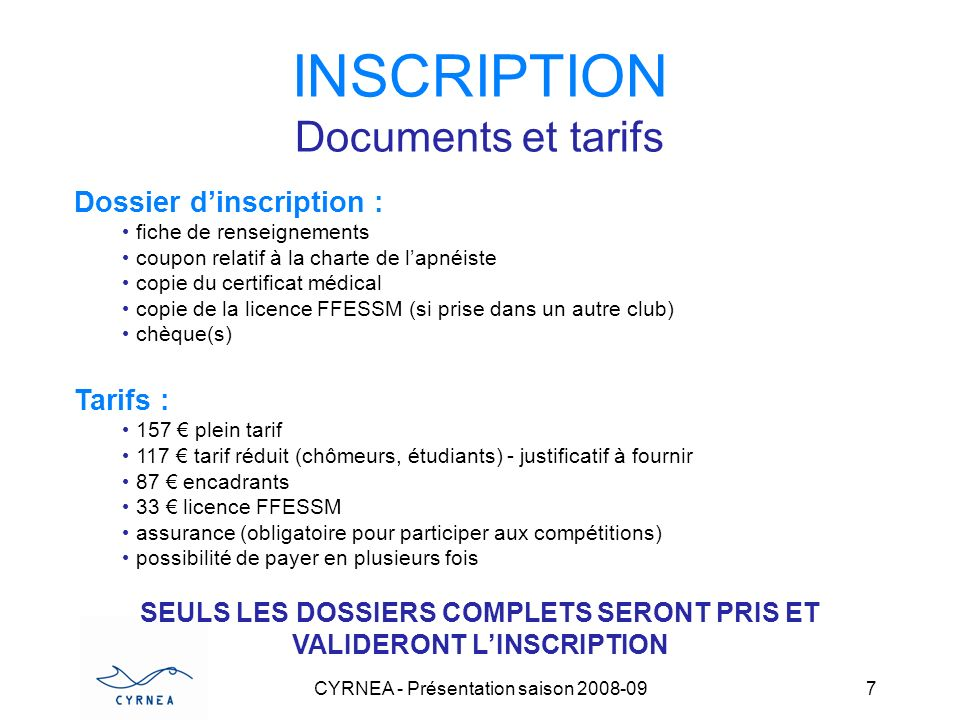 INSCRIPTION Documents et tarifs