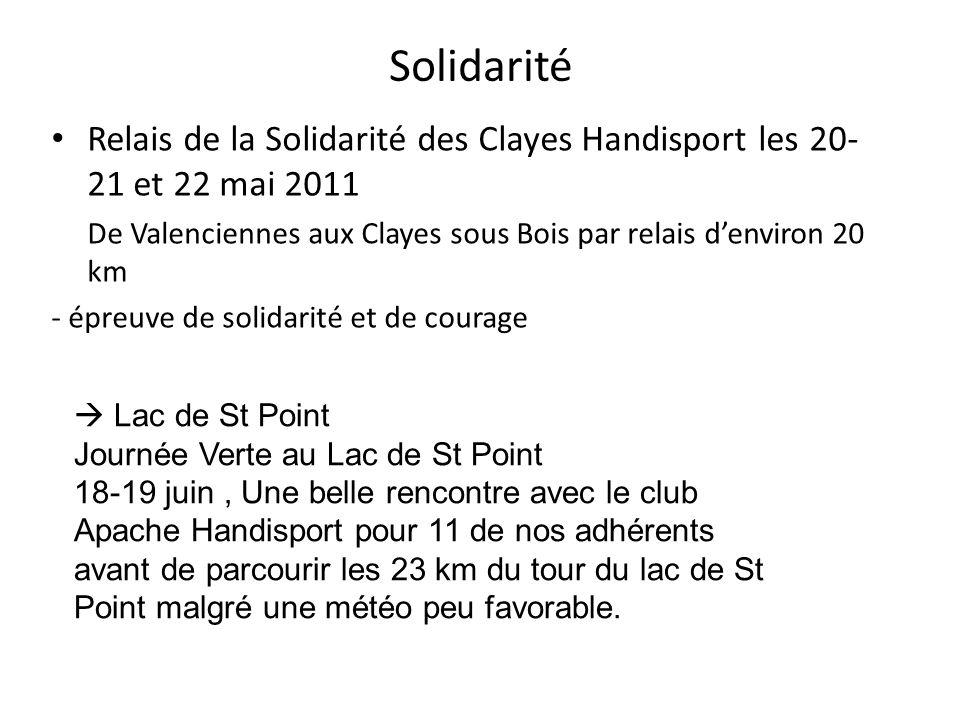 Solidarité Relais de la Solidarité des Clayes Handisport les 20- 21 et 22 mai 2011. De Valenciennes aux Clayes sous Bois par relais d'environ 20 km.