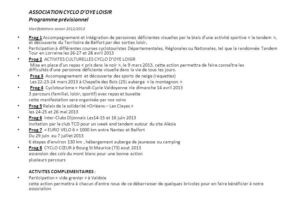 ASSOCIATION CYCLO D'OYE LOISIR Programme prévisionnel