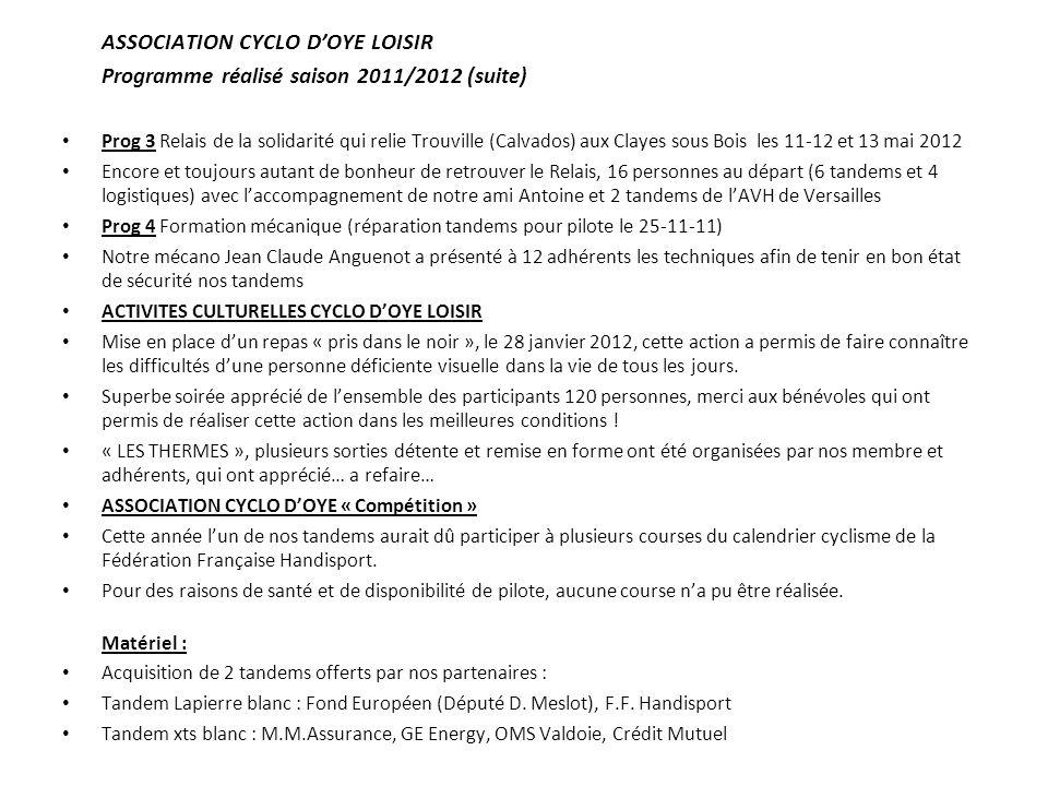 Programme réalisé saison 2011/2012 (suite)