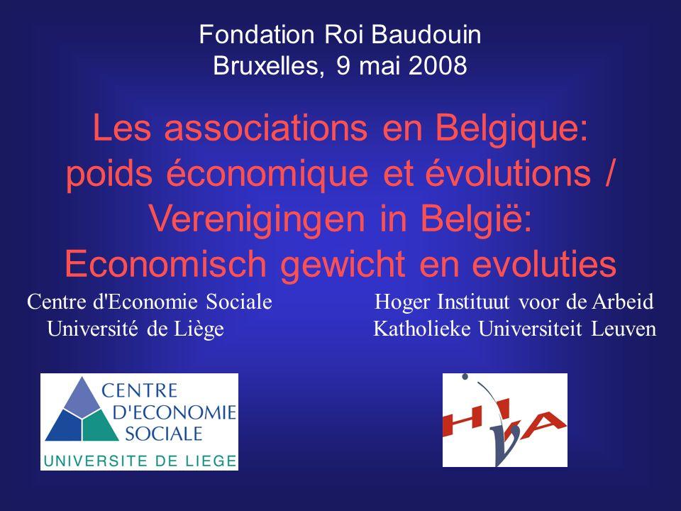 Les associations en Belgique: poids économique et évolutions /