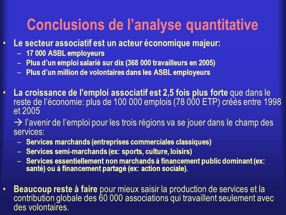 Conclusions de l'analyse quantitative