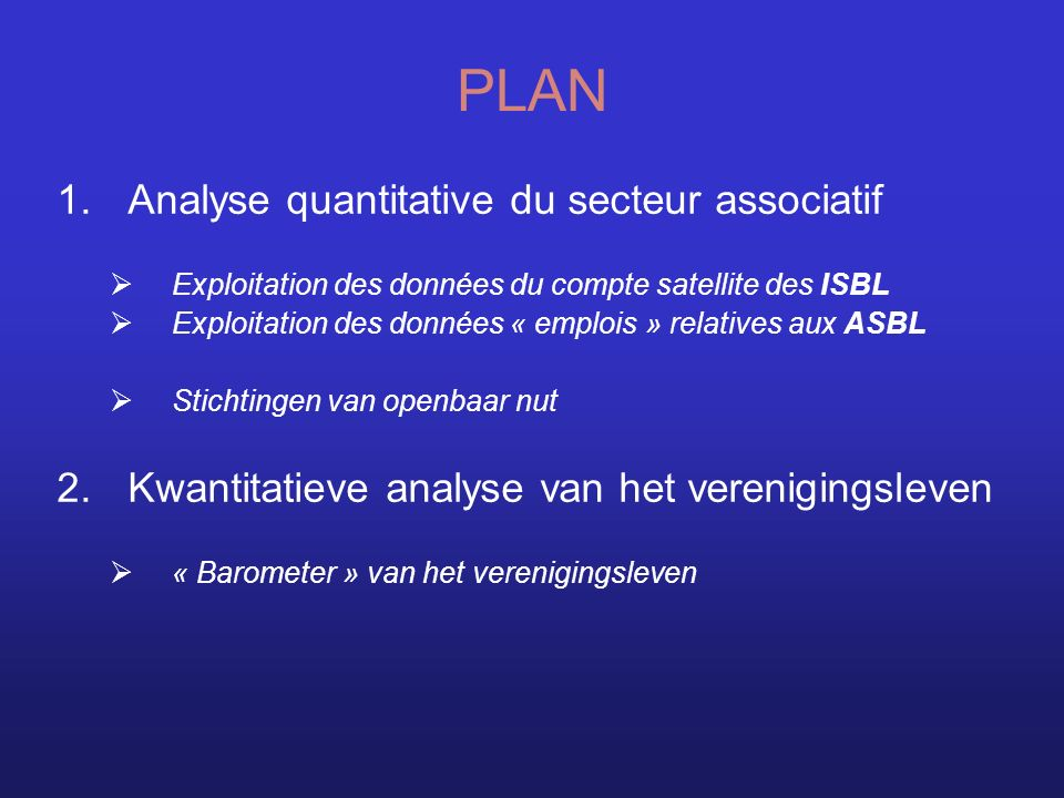 PLAN Analyse quantitative du secteur associatif