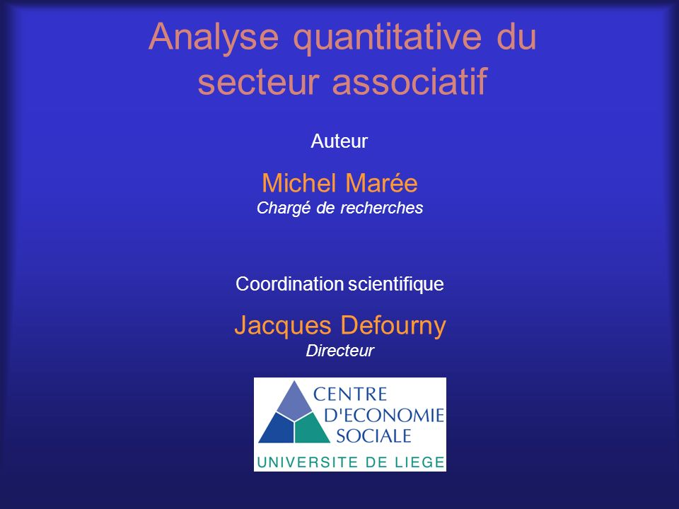Analyse quantitative du secteur associatif