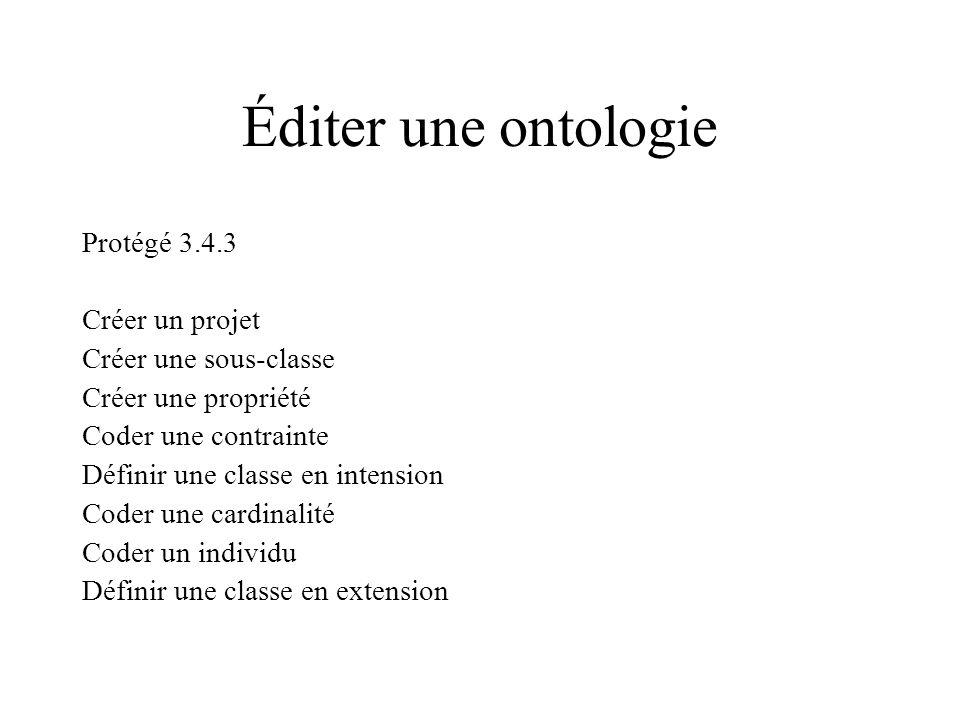 Éditer une ontologie Protégé 3.4.3 Créer un projet