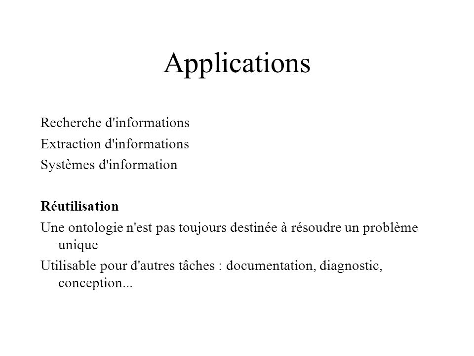 Applications Recherche d informations Extraction d informations