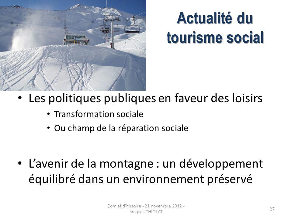 Actualité du tourisme social