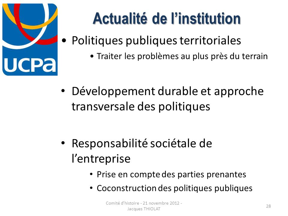 Actualité de l'institution