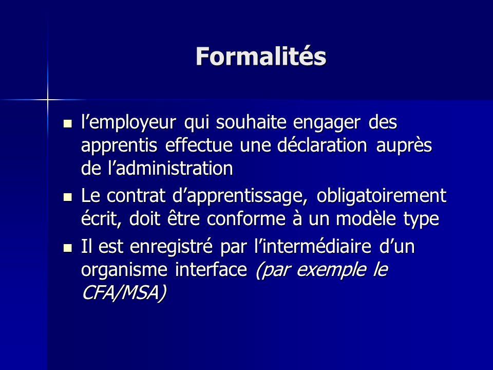Formalités l'employeur qui souhaite engager des apprentis effectue une déclaration auprès de l'administration.