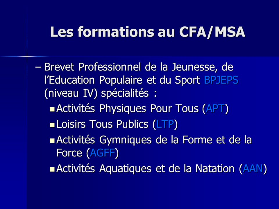 Les formations au CFA/MSA