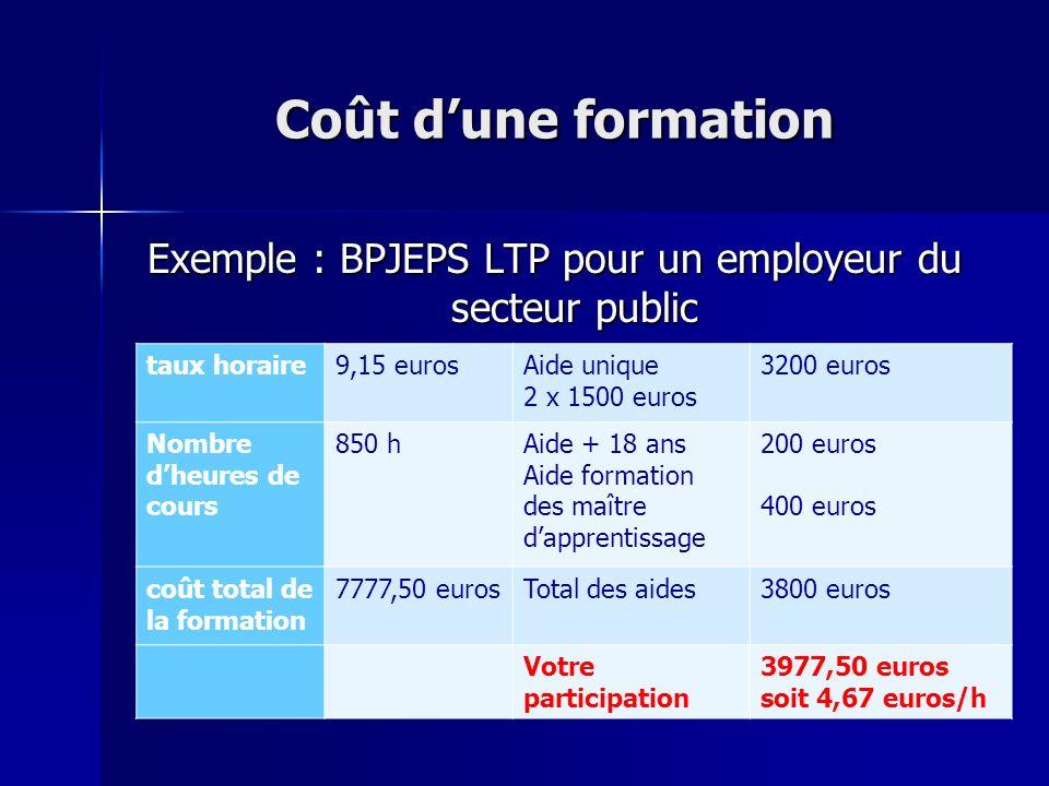 Exemple : BPJEPS LTP pour un employeur du secteur public