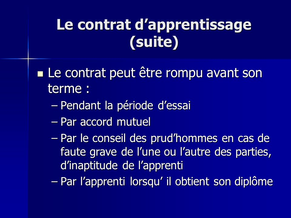 Le contrat d'apprentissage (suite)
