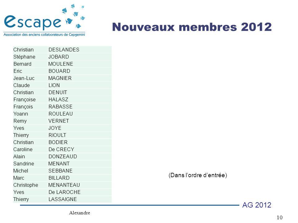 Nouveaux membres 2012 (Dans l'ordre d'entrée) Christian DESLANDES