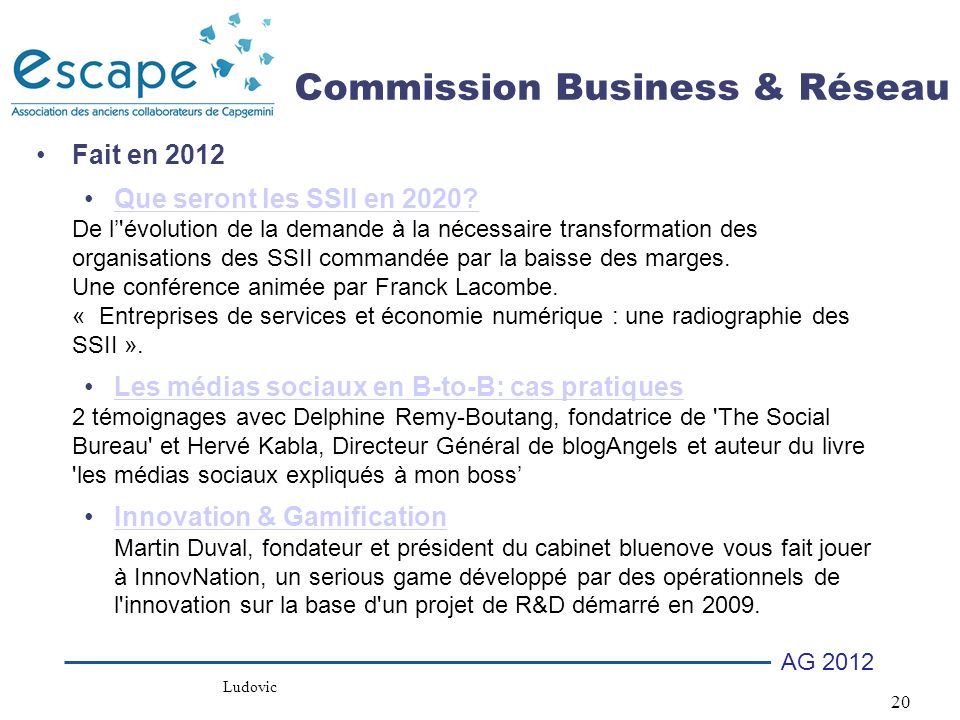 Commission Business & Réseau