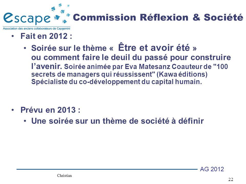 Commission Réflexion & Société