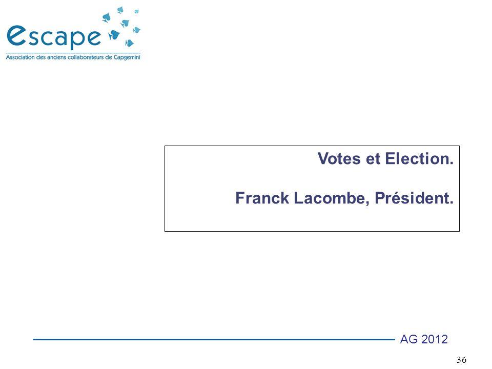 Votes et Election. Franck Lacombe, Président.