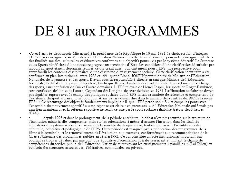 DE 81 aux PROGRAMMES