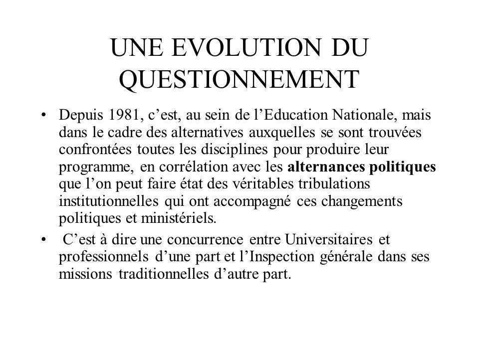 UNE EVOLUTION DU QUESTIONNEMENT