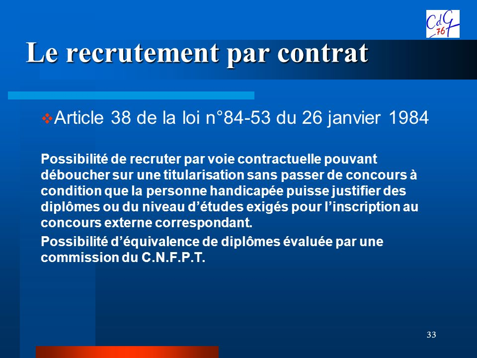Le recrutement par contrat