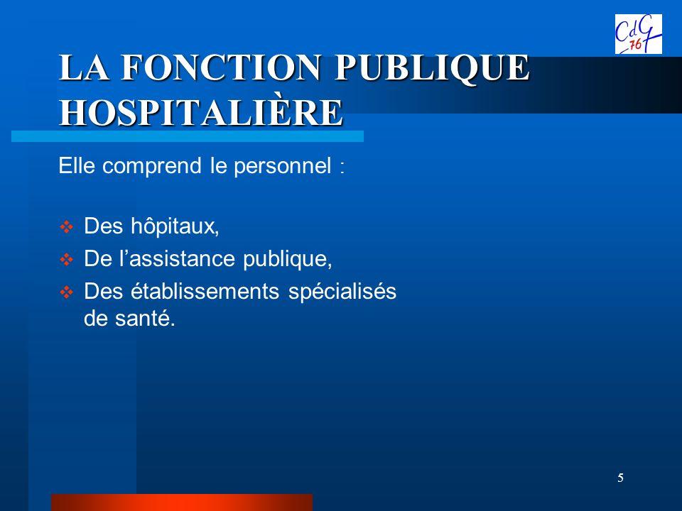 LA FONCTION PUBLIQUE HOSPITALIÈRE
