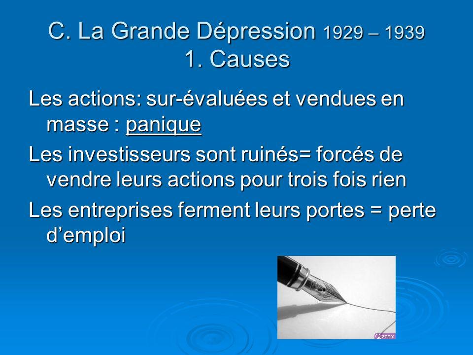 C. La Grande Dépression 1929 – 1939 1. Causes