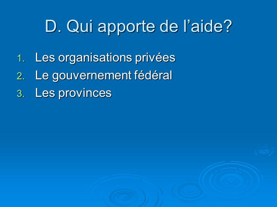 D. Qui apporte de l'aide Les organisations privées