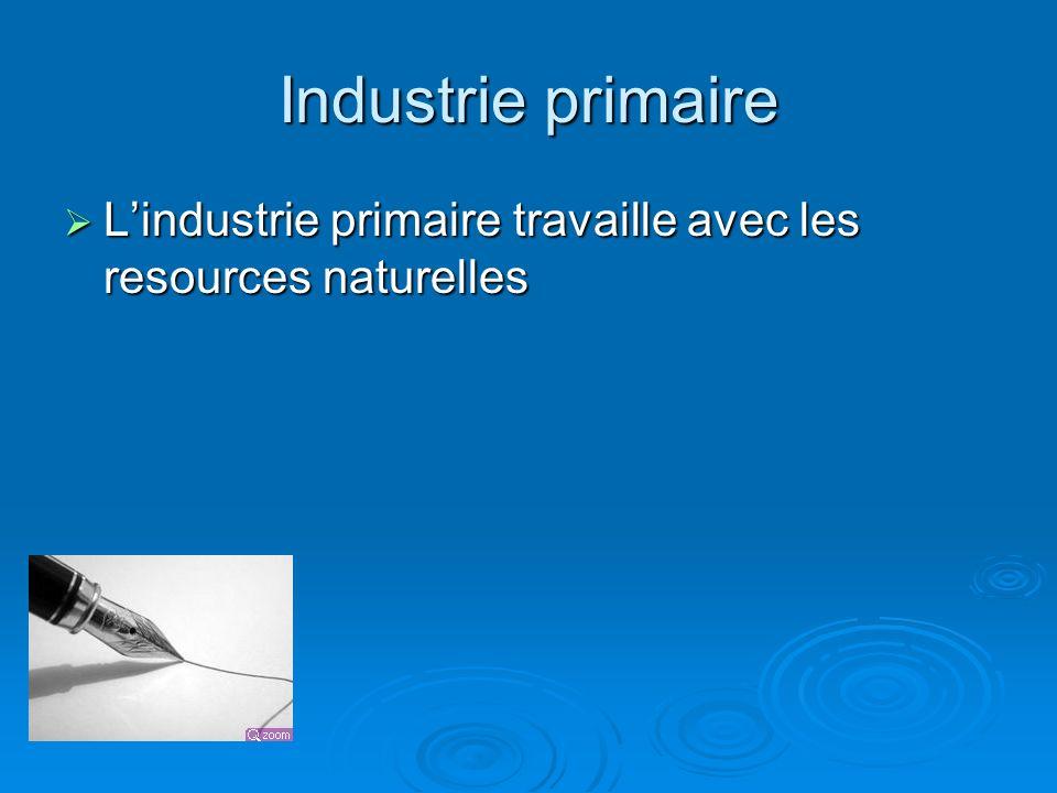 Industrie primaire L'industrie primaire travaille avec les resources naturelles
