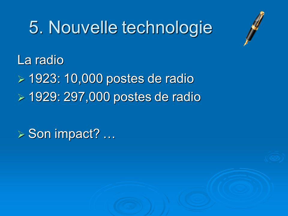 5. Nouvelle technologie La radio 1923: 10,000 postes de radio