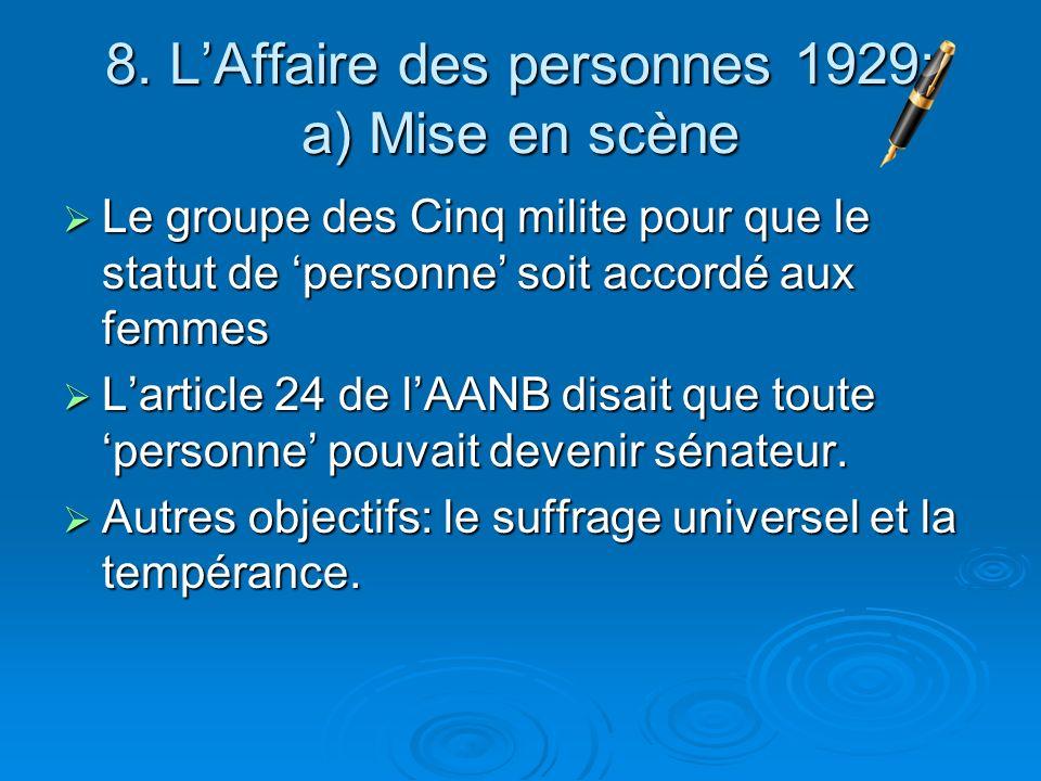 8. L'Affaire des personnes 1929: a) Mise en scène