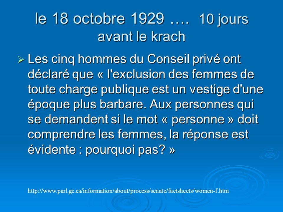 le 18 octobre 1929 …. 10 jours avant le krach