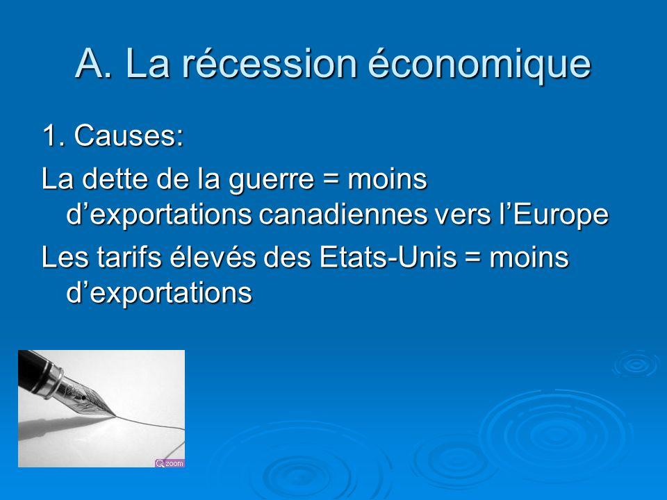 A. La récession économique