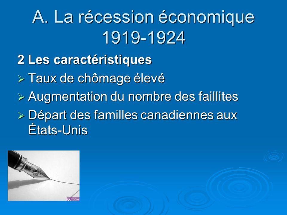 A. La récession économique 1919-1924