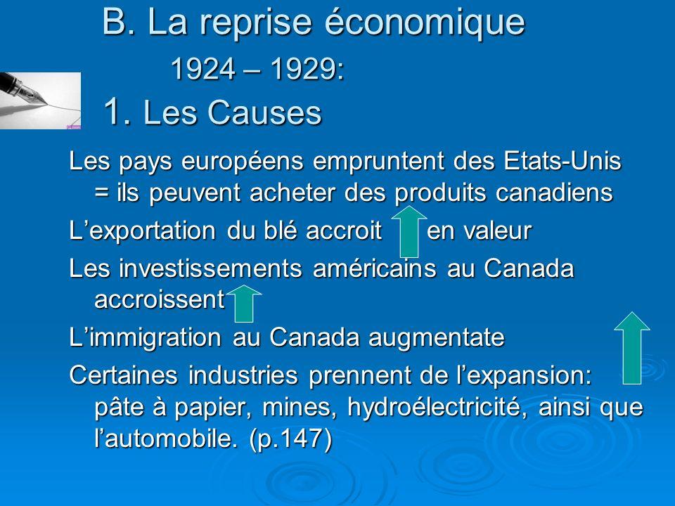 B. La reprise économique 1924 – 1929: 1. Les Causes