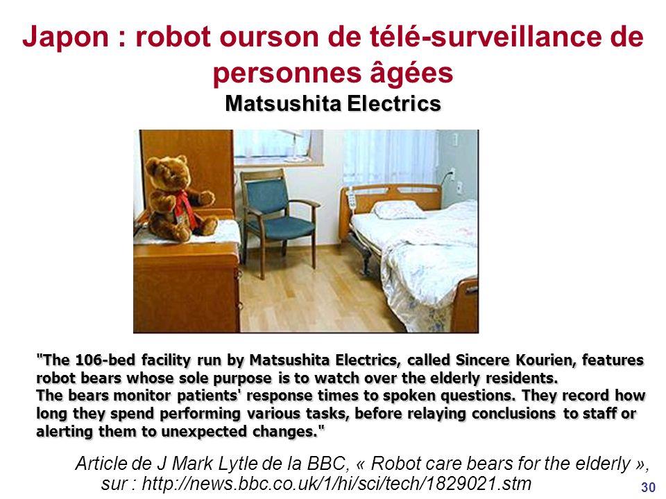 Japon : robot ourson de télé-surveillance de personnes âgées Matsushita Electrics