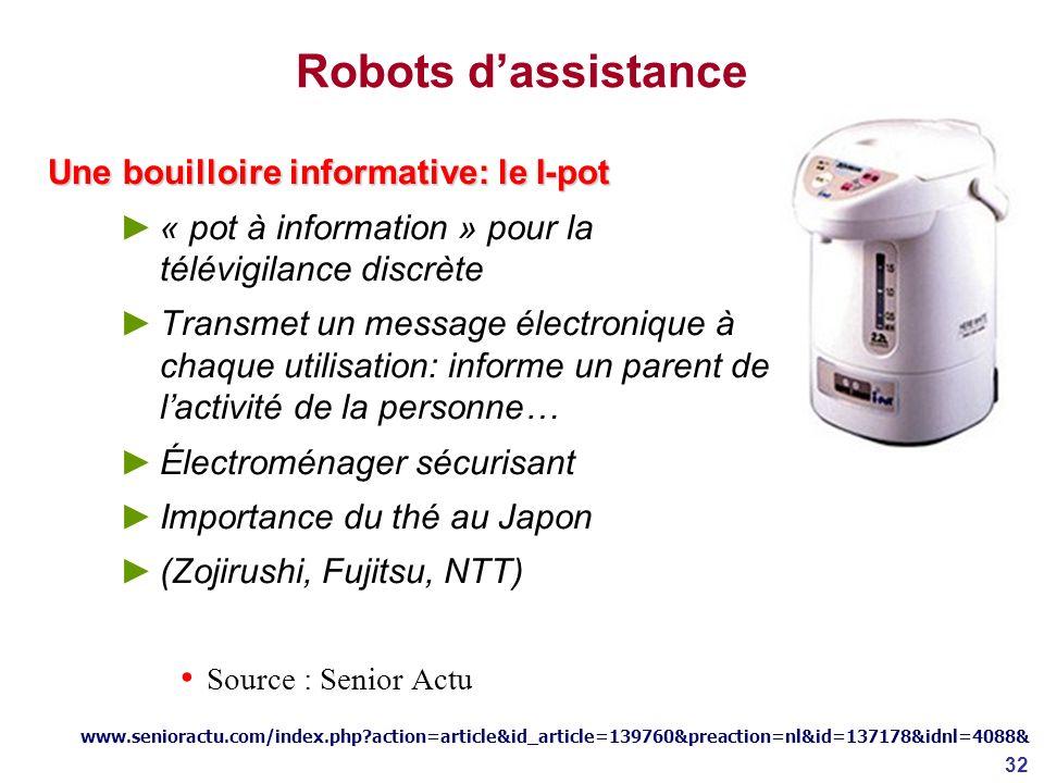 Robots d'assistance Une bouilloire informative: le I-pot