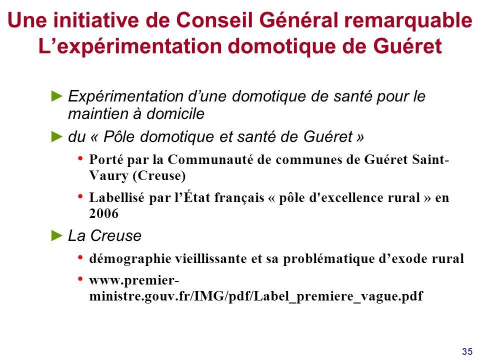 Une initiative de Conseil Général remarquable L'expérimentation domotique de Guéret