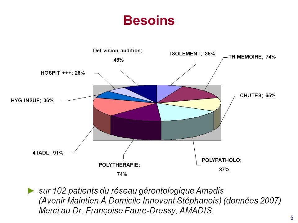 Besoins TR MEMOIRE; 74% ISOLEMENT; 35% CHUTES; 65% POLYPATHOLO; 87% POLYTHERAPIE; 74% 4 IADL; 91%