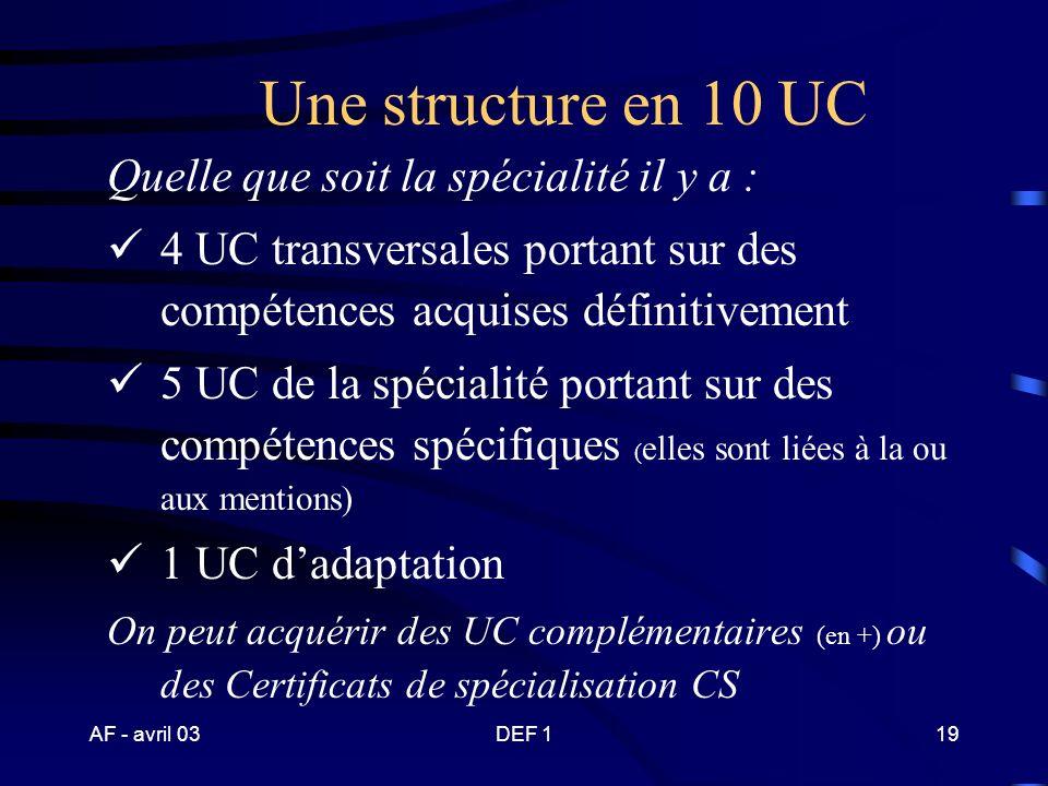 Une structure en 10 UC Quelle que soit la spécialité il y a :