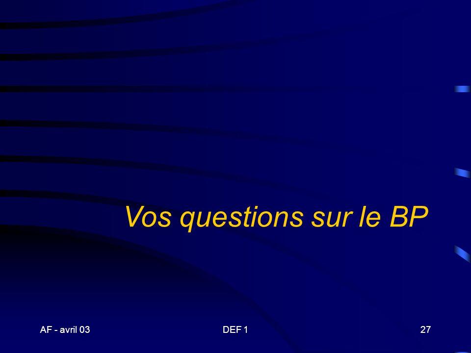 Vos questions sur le BP AF - avril 03 DEF 1