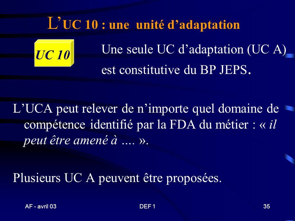 L'UC 10 : une unité d'adaptation