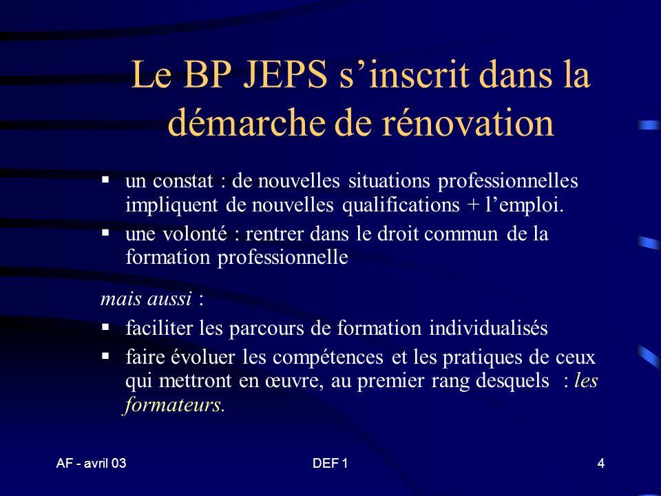 Le BP JEPS s'inscrit dans la démarche de rénovation