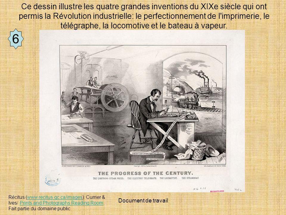 Ce dessin illustre les quatre grandes inventions du XIXe siècle qui ont permis la Révolution industrielle: le perfectionnement de l imprimerie, le télégraphe, la locomotive et le bateau à vapeur.