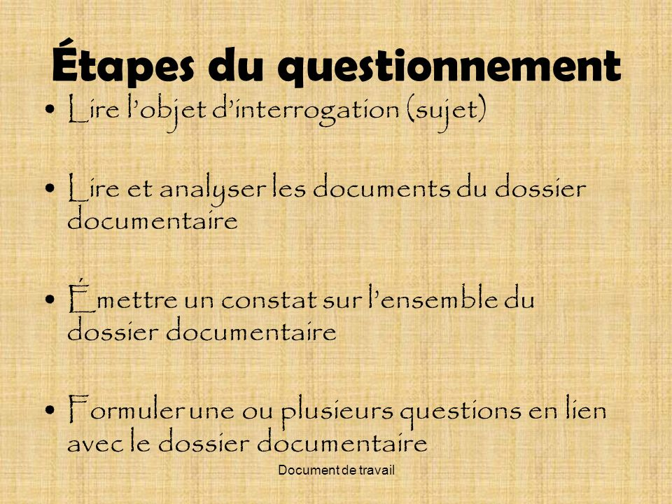 Étapes du questionnement