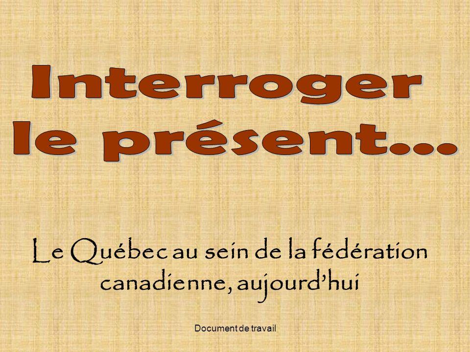 Le Québec au sein de la fédération canadienne, aujourd'hui