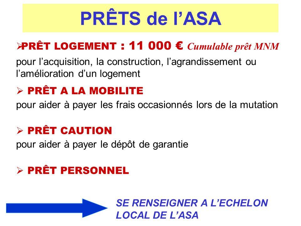 PRÊTS de l'ASA PRÊT LOGEMENT : 11 000 € Cumulable prêt MNM