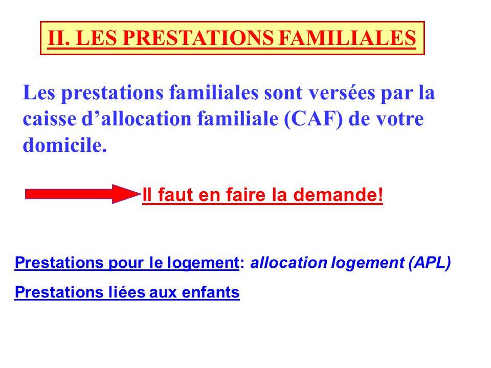 II. LES PRESTATIONS FAMILIALES