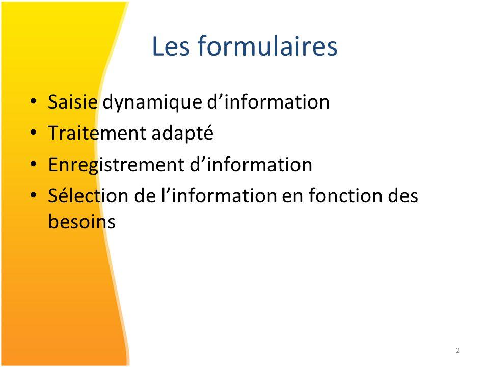 Les formulaires Saisie dynamique d'information Traitement adapté