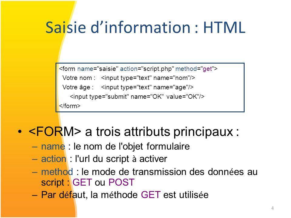 Saisie d'information : HTML